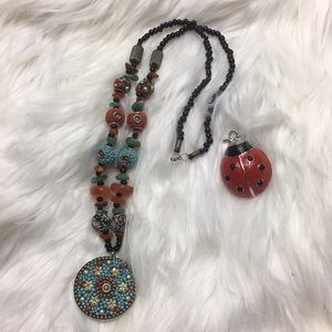 "Handmade, bead and stone, necklace, 26"" long, GUC."